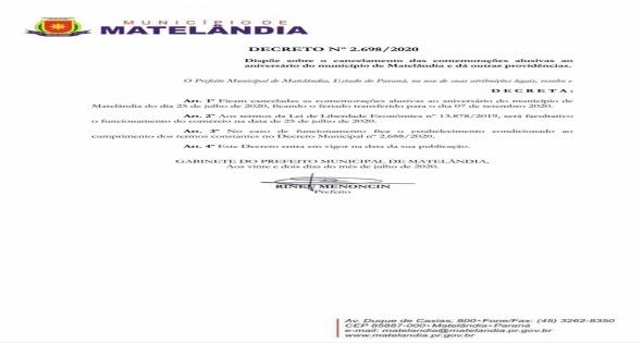 Decreto sobre Feriado 25 de Julho
