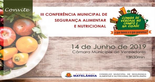 Matelândia convida para a 3ª Conferência de Segurança Alimentar