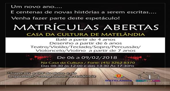 Mátriculas da Casa da Cultura será do dia 06 a 09 de Fevereiro