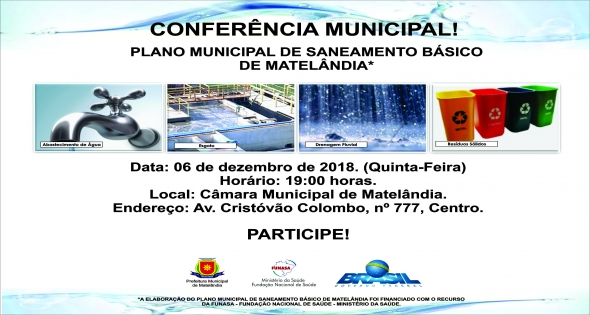 Conferência Municipal discutirá Plano de Saneamento de Matelândia