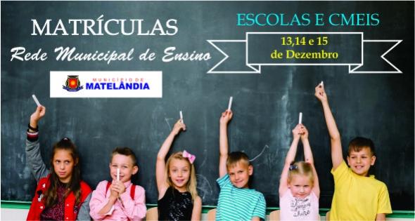 Rede Municipal de Ensino de Matelândia abre matrículas