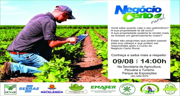 Novo curso para os Agricultores será lançado no dia 09 de agosto