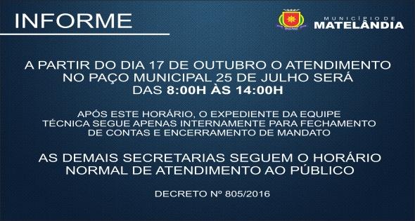 Prefeitura de Matelândia terá turno único a partir do dia 17