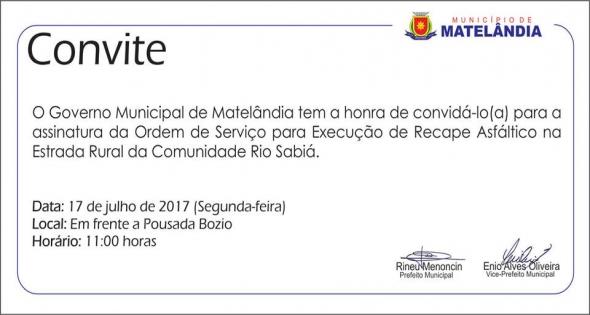 Assinatura da Ordem de Serviço para recape asfáltico