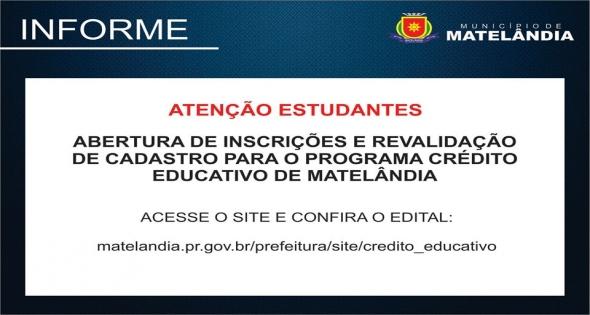 Abertura de inscrições revalidação de cadastro Credito Educativo